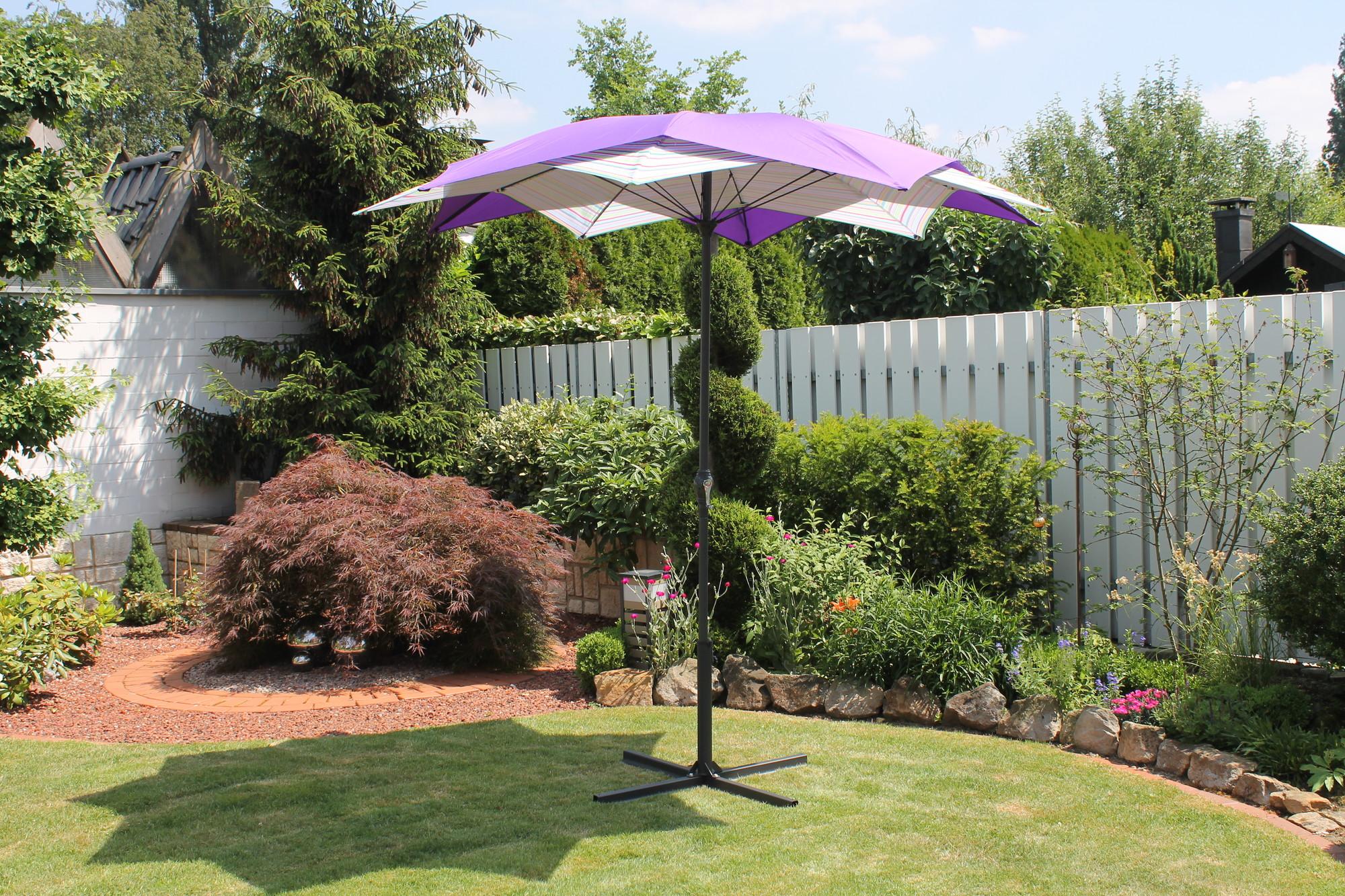 Van Wohi Leco Bloem Parasol violet gestreept (doorsnede 270 cm) (20700 512) Prijsvergelijk nu!